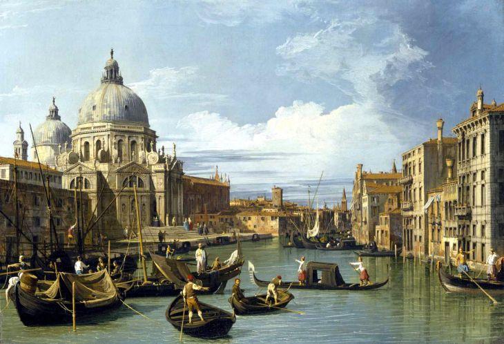 Canaletto Canale Grande i kocil Santa Maria della Salute